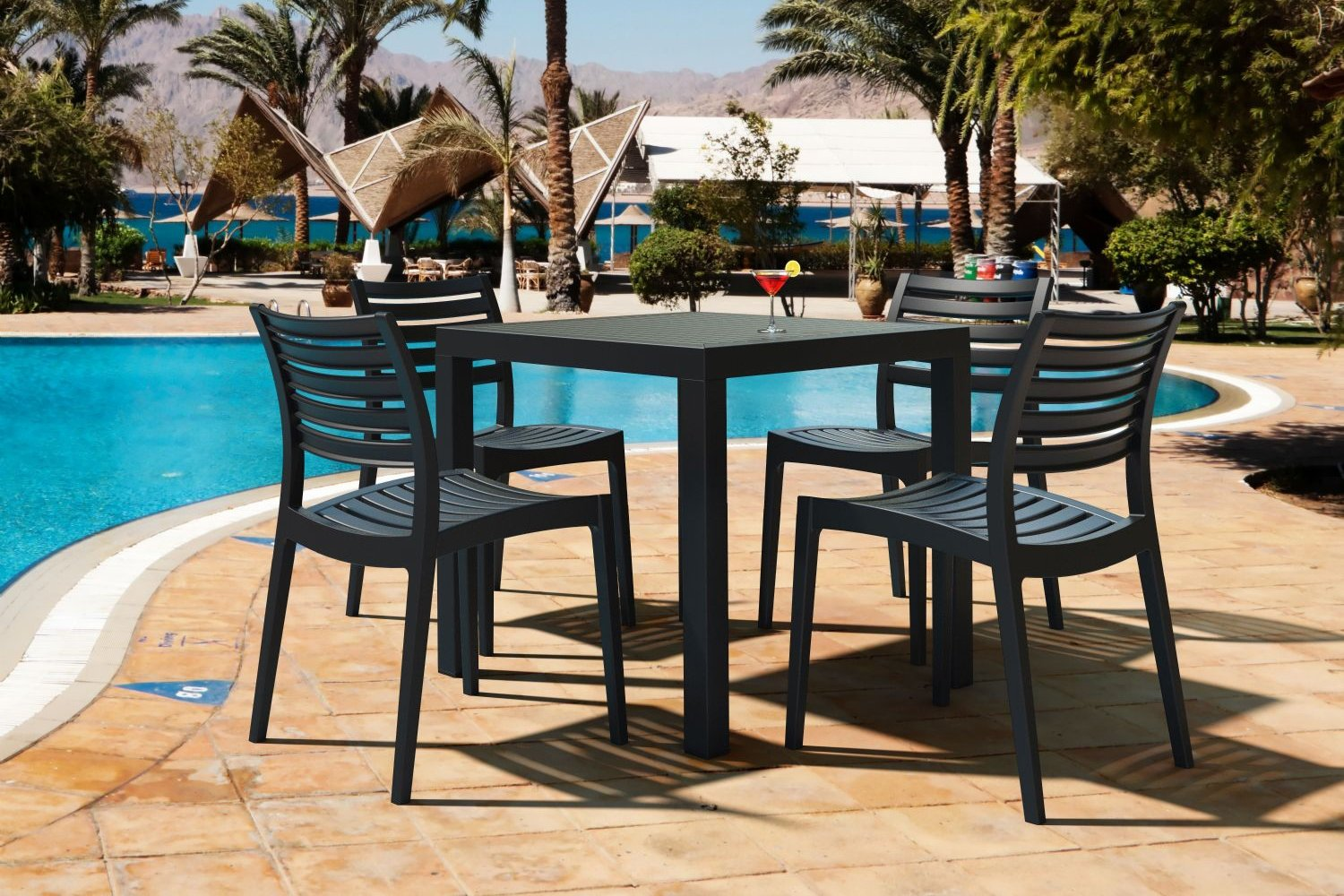 Ares Resin Square Outdoor Dining Set 5 Piece with Side Chairs Brown ISP1641S-BRW - 9