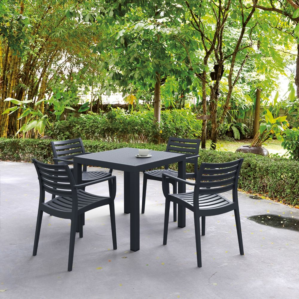 Artemis Resin Square Outdoor Dining Set 5 Piece with Arm Chairs Dark Gray ISP1642S-DGR