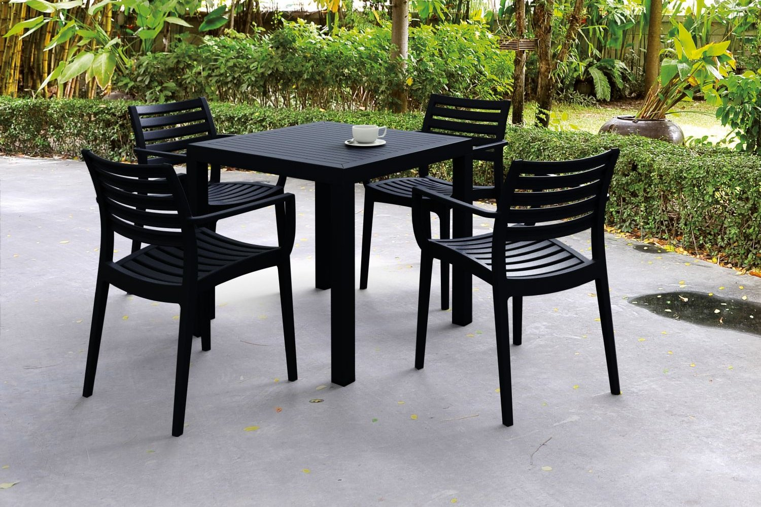 Artemis Resin Square Outdoor Dining Set 5 Piece with Arm Chairs ISP1642S - 1