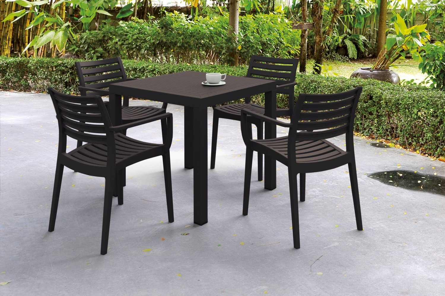 Artemis Resin Square Outdoor Dining Set 5 Piece with Arm Chairs Brown ISP1642S-BRW - 2