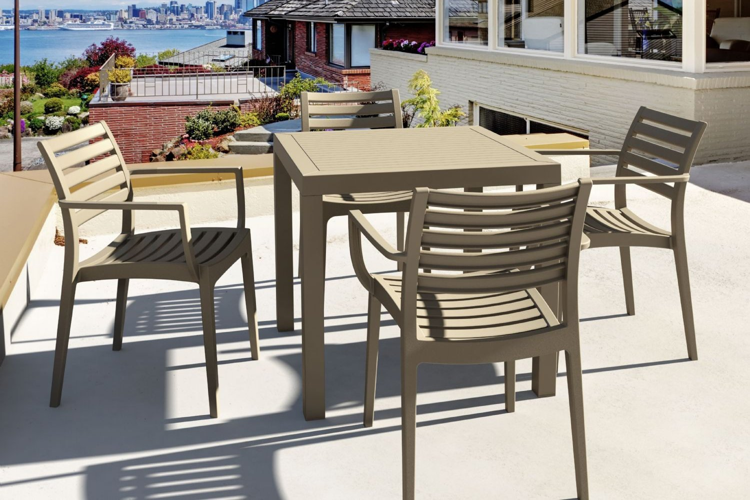 Artemis Resin Square Outdoor Dining Set 5 Piece with Arm Chairs Brown ISP1642S-BRW - 4