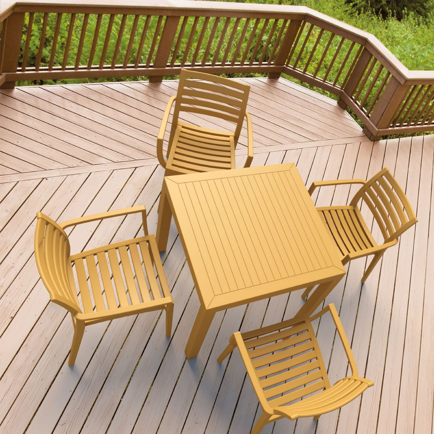 Artemis Resin Square Outdoor Dining Set 5 Piece with Arm Chairs Brown ISP1642S-BRW - 5