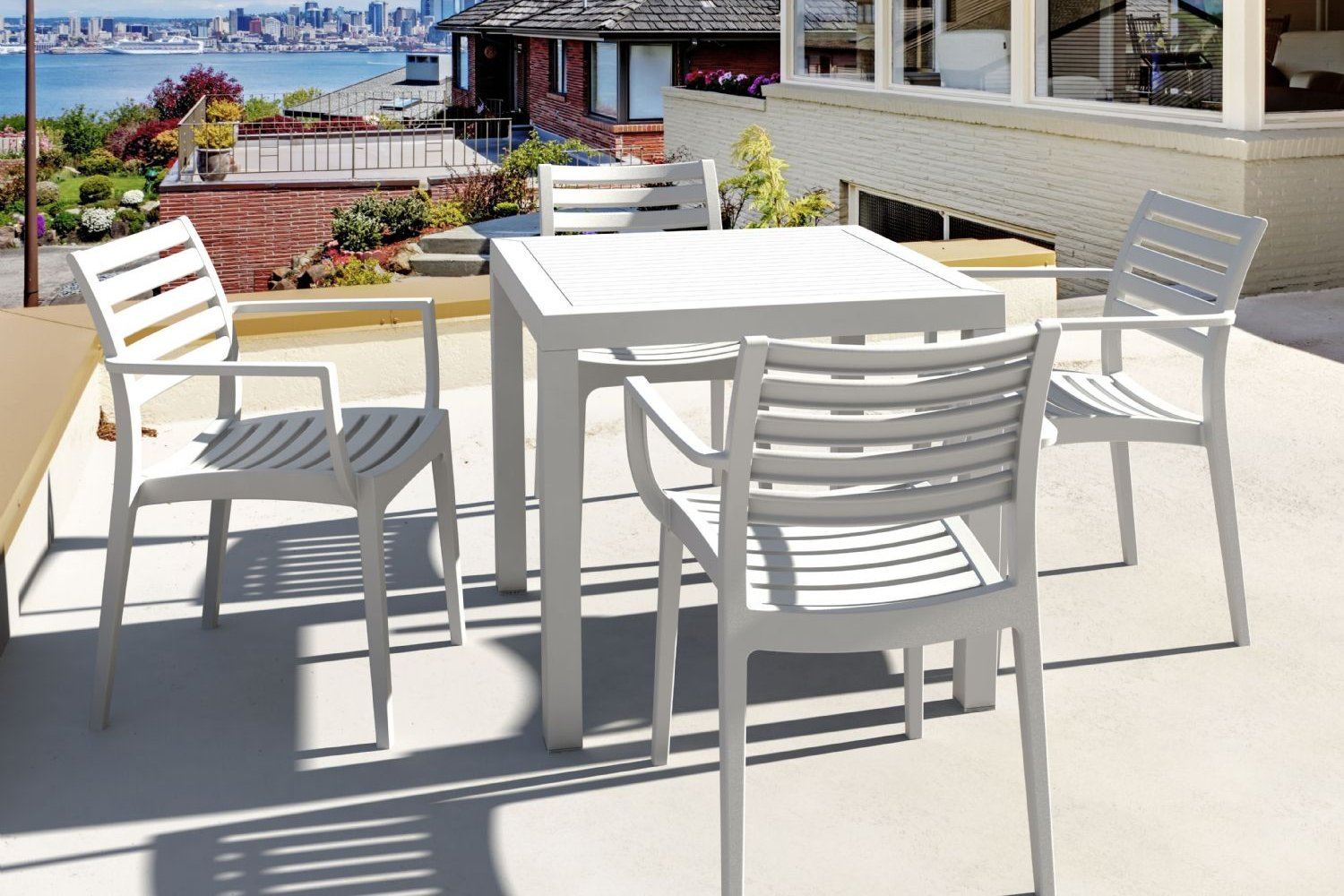 Artemis Resin Square Outdoor Dining Set 5 Piece with Arm Chairs Brown ISP1642S-BRW - 6