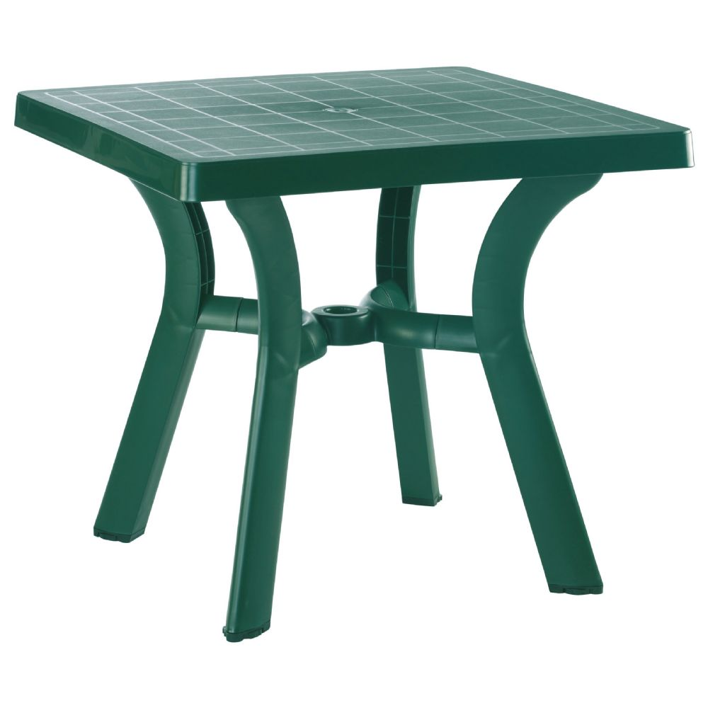 Viva Resin Square Dining Table 31 inch Dark Green ISP168-GRE