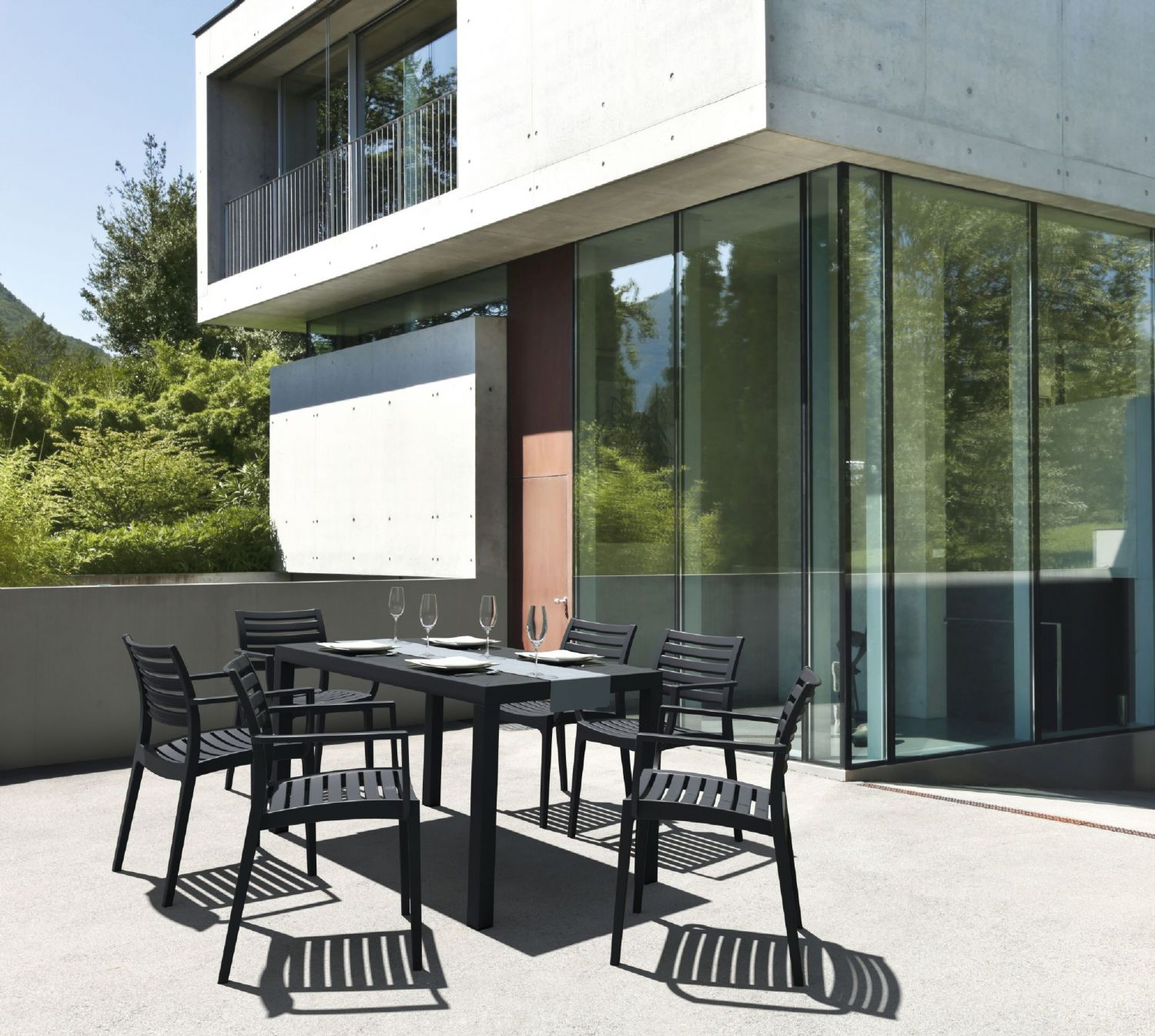 Ares Rectangle Outdoor Table 55 inch Dark Gray ISP186-DGR - 1