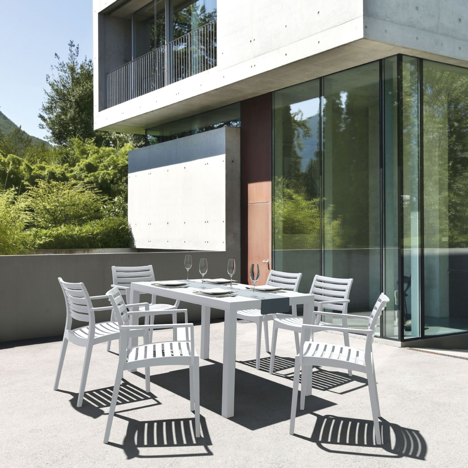 Ares Rectangle Outdoor Table 55 inch White ISP186-WHI - 7