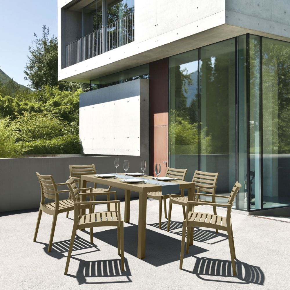 Artemis Resin Rectangle Outdoor Dining Set 7 Piece with Arm Chairs Taupe ISP1862S-DVR