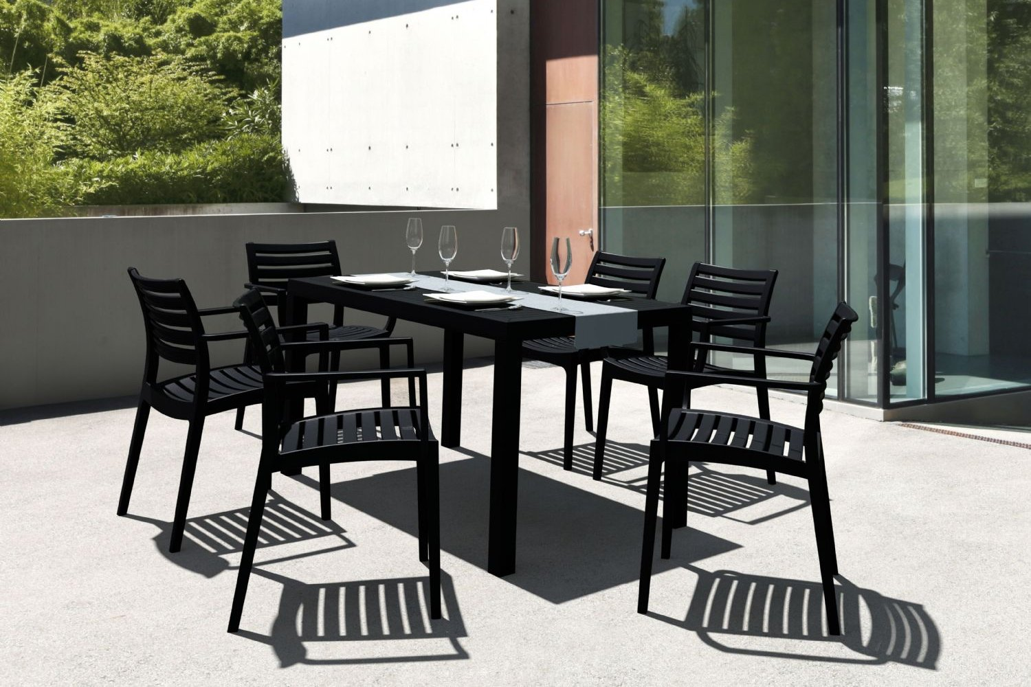 Artemis Resin Rectangle Outdoor Dining Set 7 Piece with Arm Chairs White ISP1862S-WHI - 1