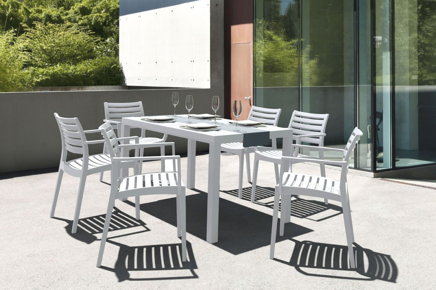 Artemis Resin Rectangle Outdoor Dining Set 7 Piece with Arm Chairs White ISP1862S-WHI - 9