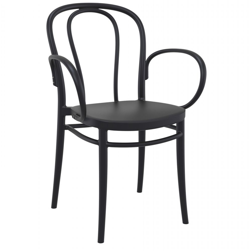 Victor XL Resin Outdoor Arm Chair Black ISP253-BLA