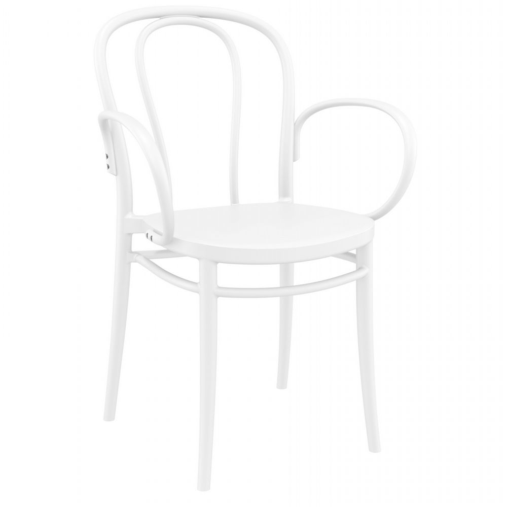 Victor XL Resin Outdoor Arm Chair White ISP253-WHI