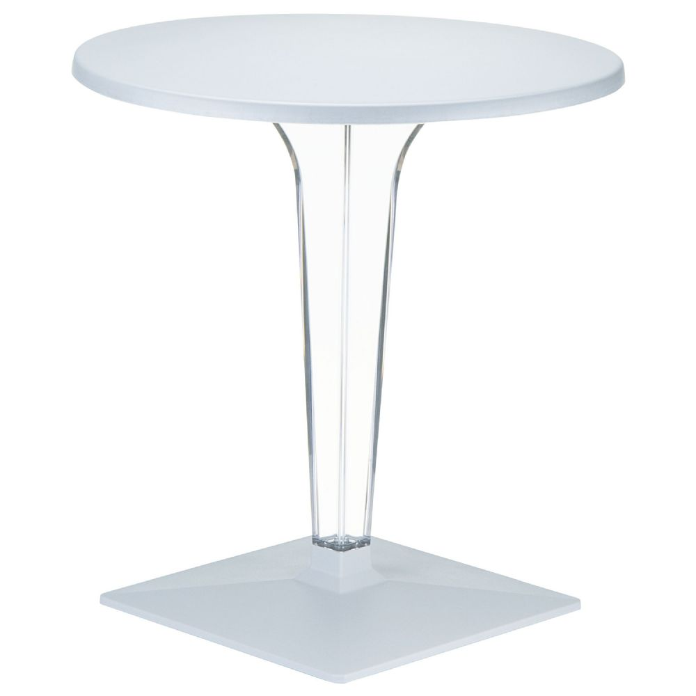 Ice Round Dining Table Silver Gray Top 24 inch. ISP500-SIL