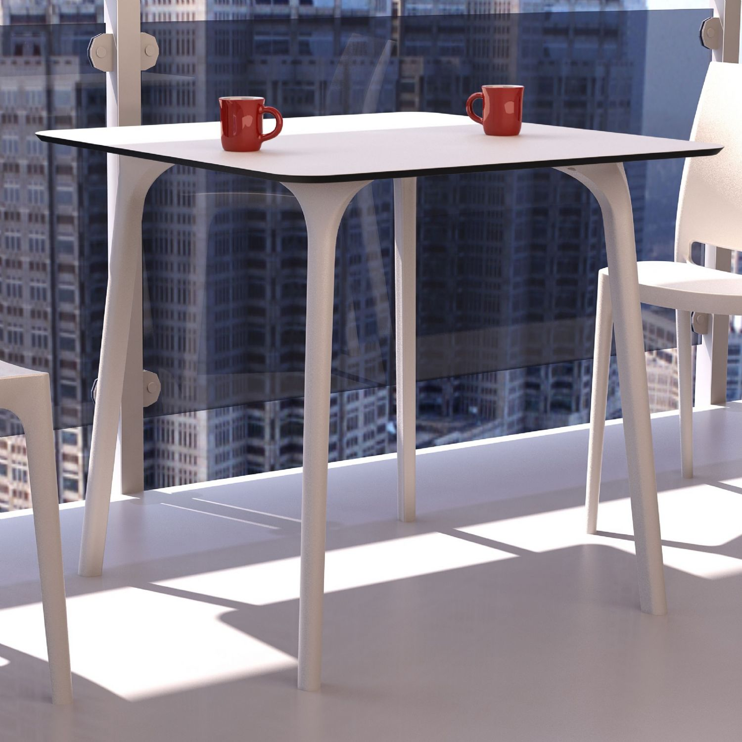 Maya Square Dining Table 32 inch White ISP685-WHI - 14