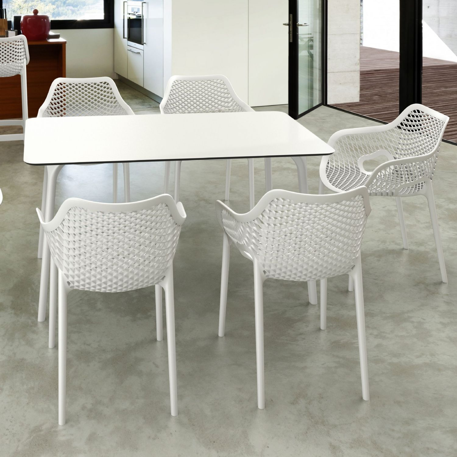 Maya Rectangle Dining Table 55 inch White ISP690-WHI - 6
