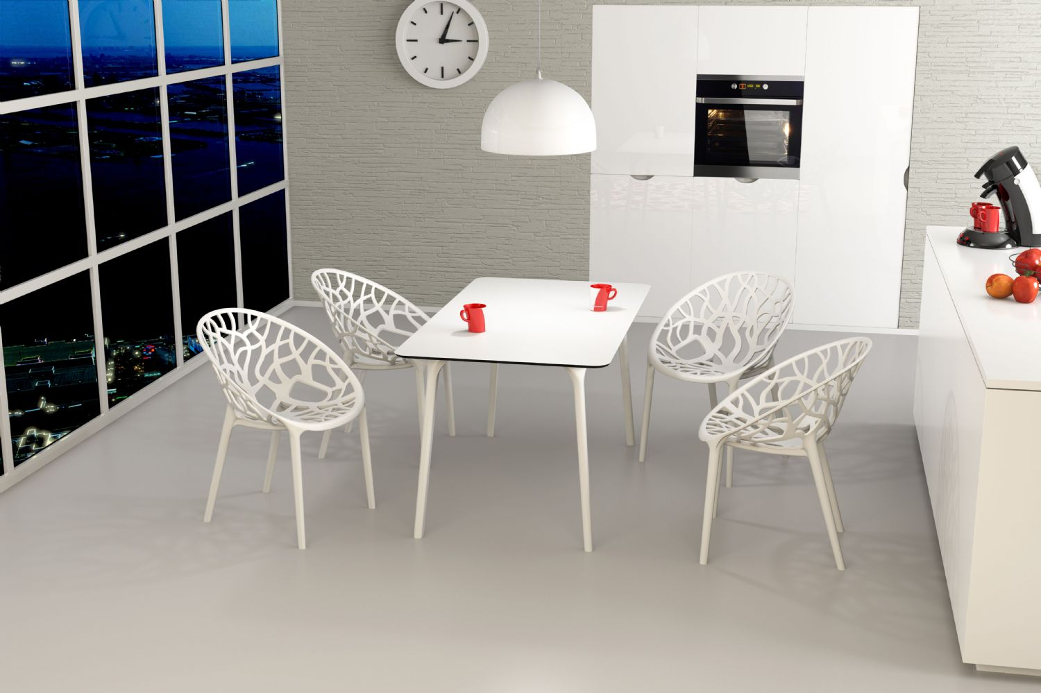 Maya Rectangle Dining Table 55 inch White ISP690-WHI - 13