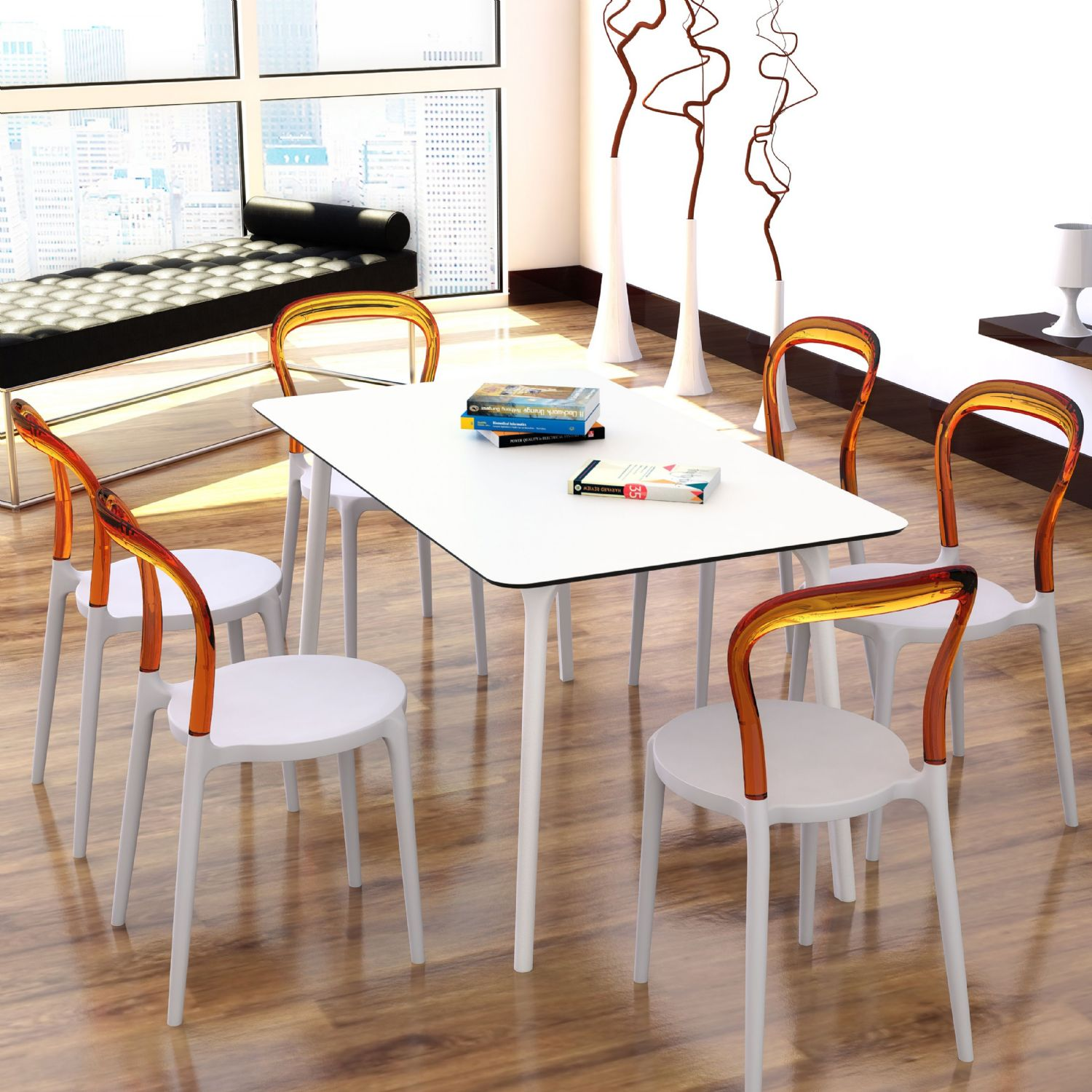 Maya Rectangle Dining Table 55 inch White ISP690-WHI - 28