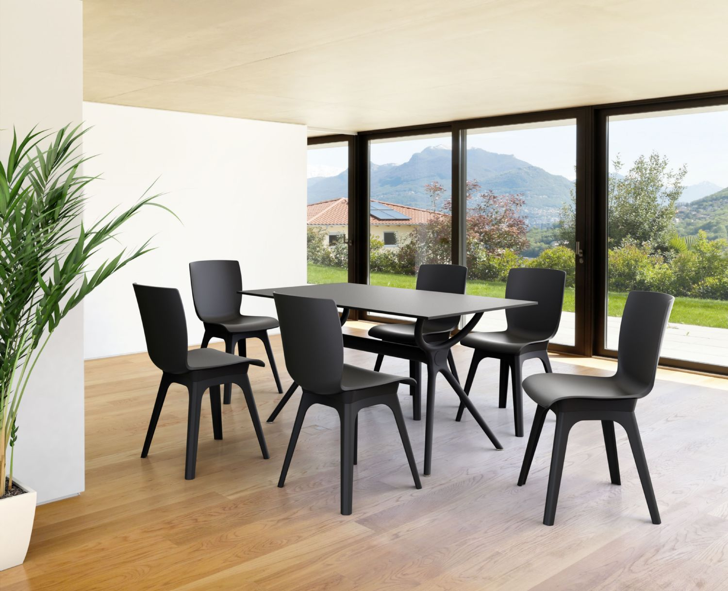 Air Rectangle Dining Table 55 inch Black ISP705-BLA - 1