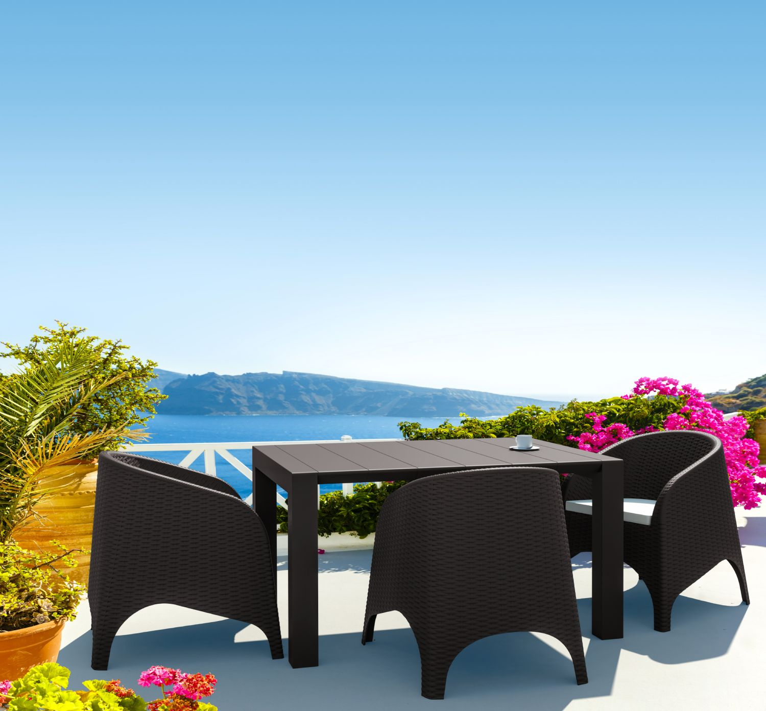 Vegas Outdoor Dining Table Extendable from 39 to 55 inch White ISP772-WH - 5