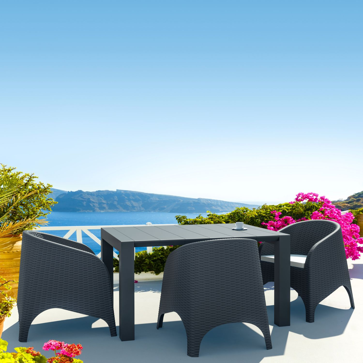 Vegas Outdoor Dining Table Extendable from 39 to 55 inch White ISP772-WH - 9
