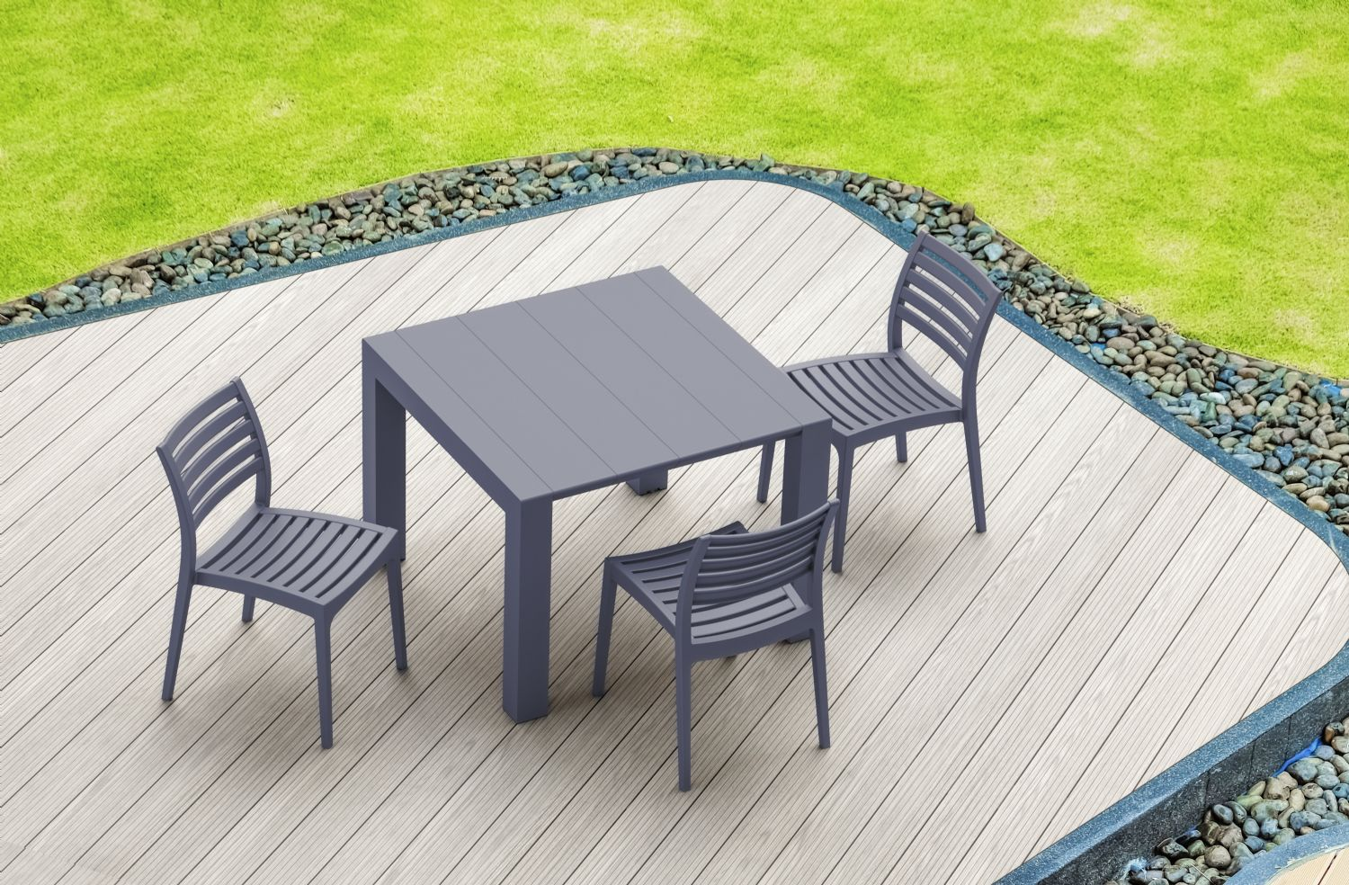 Vegas Outdoor Dining Table Extendable from 39 to 55 inch White ISP772-WH - 10