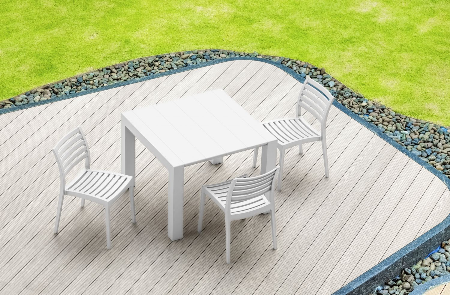 Vegas Outdoor Dining Table Extendable from 39 to 55 inch White ISP772-WH - 15