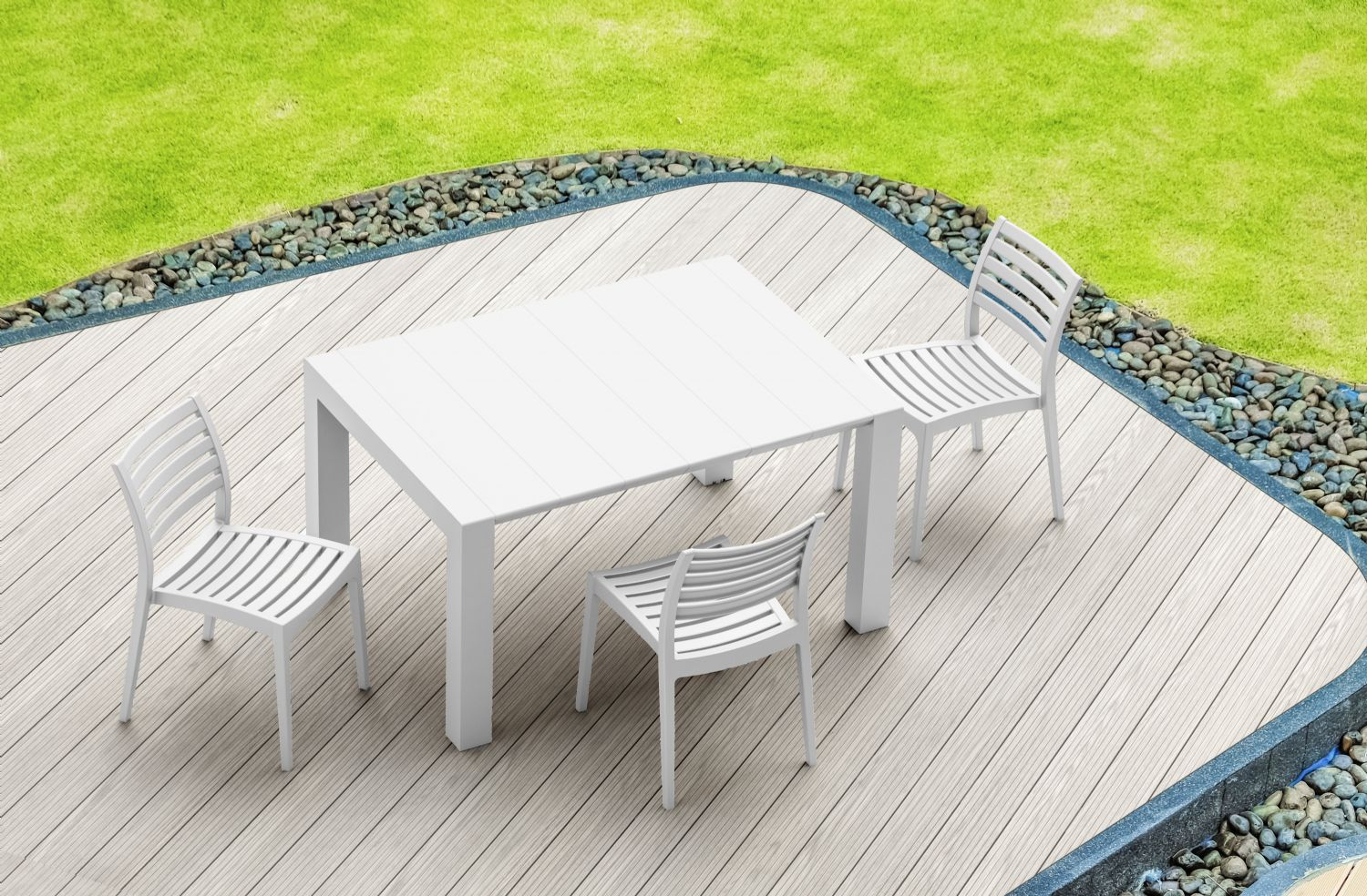 Vegas Outdoor Dining Table Extendable from 39 to 55 inch White ISP772-WH - 16