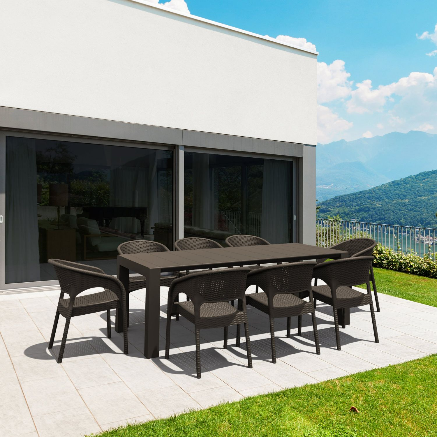 Vegas Outdoor Dining Table Extendable from 70 to 86 inch Dark Gray ISP774-DG - 3