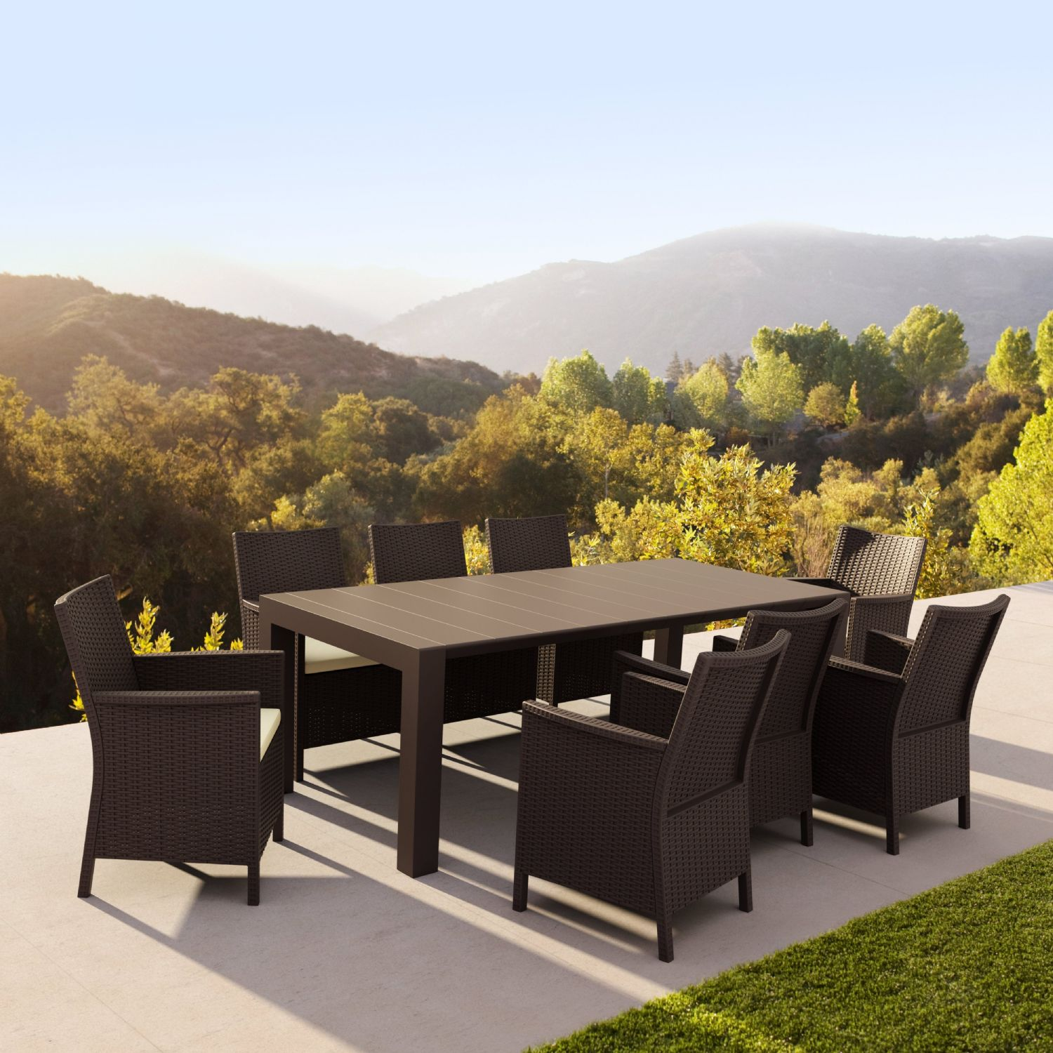 Vegas Outdoor Dining Table Extendable from 70 to 86 inch Dark Gray ISP774-DG - 4