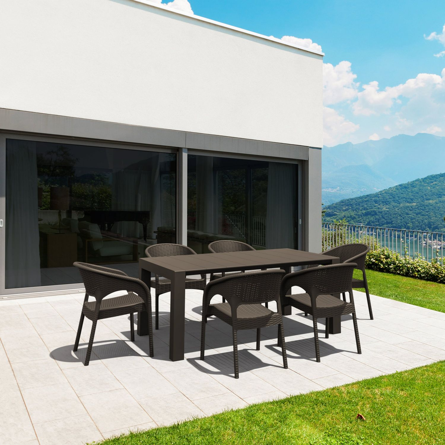 Vegas Outdoor Dining Table Extendable from 70 to 86 inch Dark Gray ISP774-DG - 5