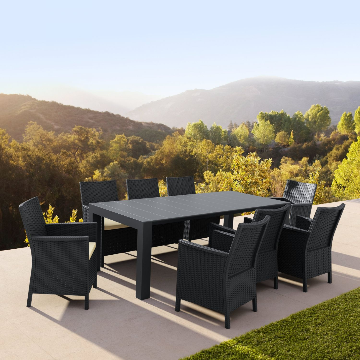 Vegas Outdoor Dining Table Extendable from 70 to 86 inch Dark Gray ISP774-DG - 6