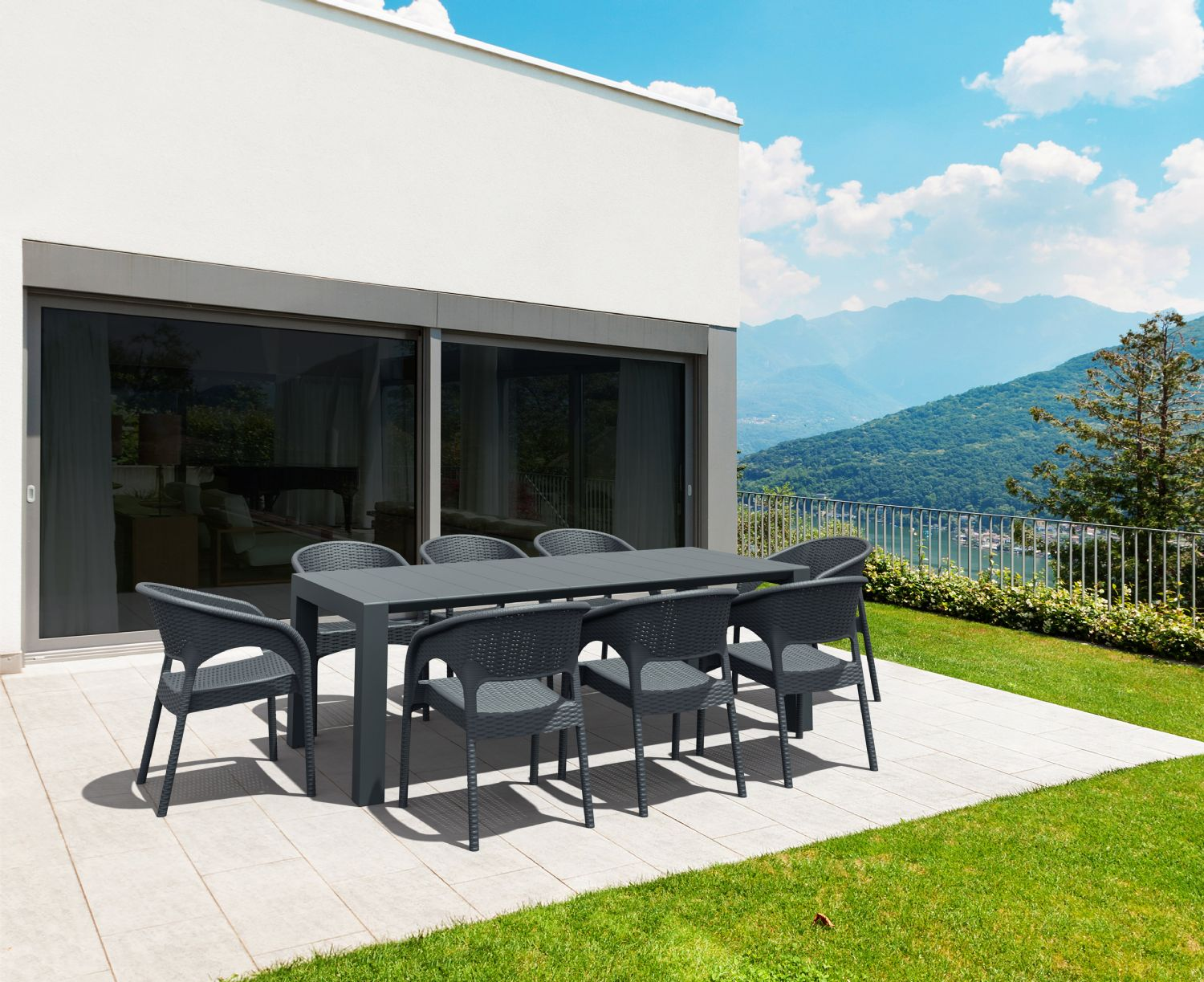 Vegas Outdoor Dining Table Extendable from 70 to 86 inch Dark Gray ISP774-DG - 8