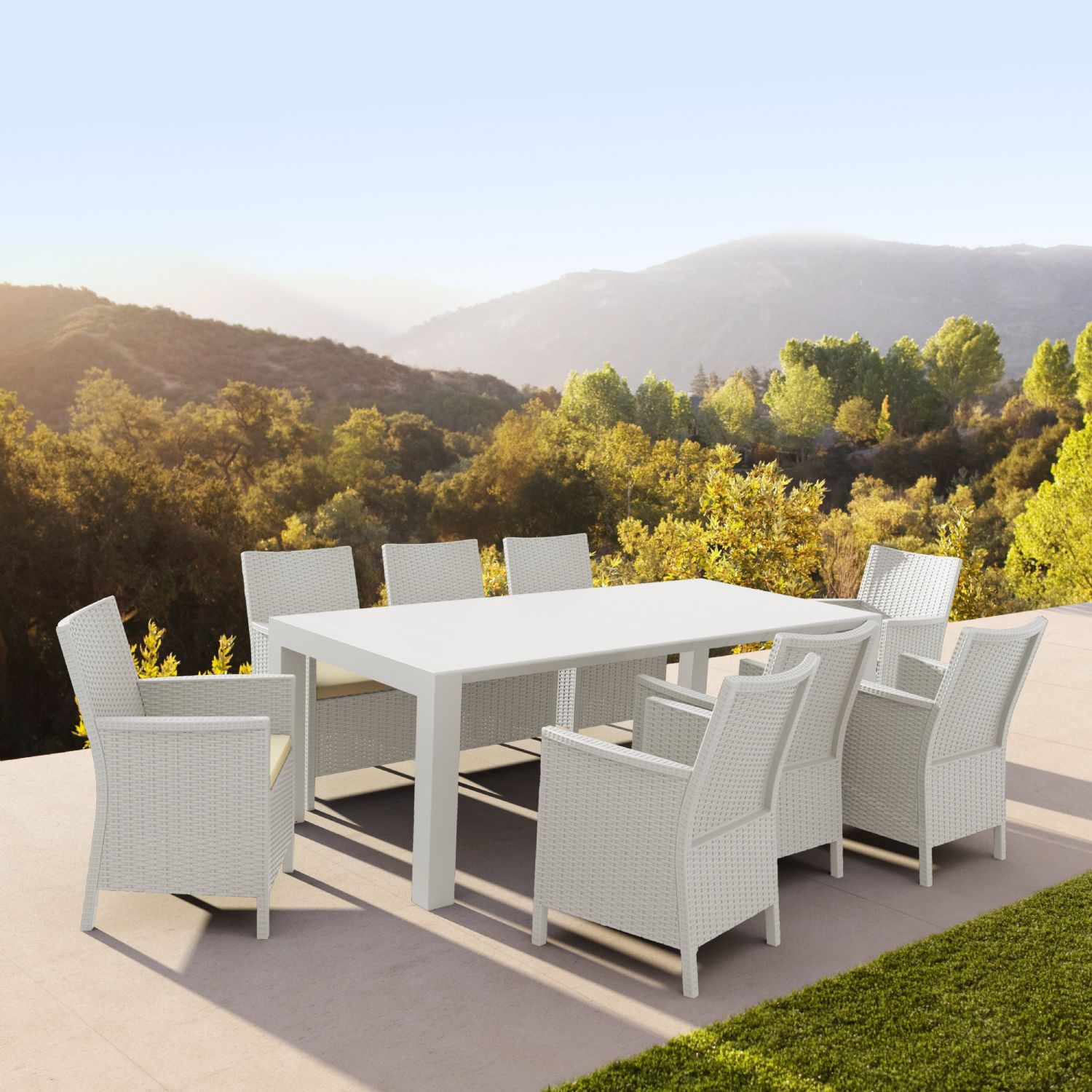 Vegas Outdoor Dining Table Extendable from 70 to 86 inch White ISP774-WH - 26