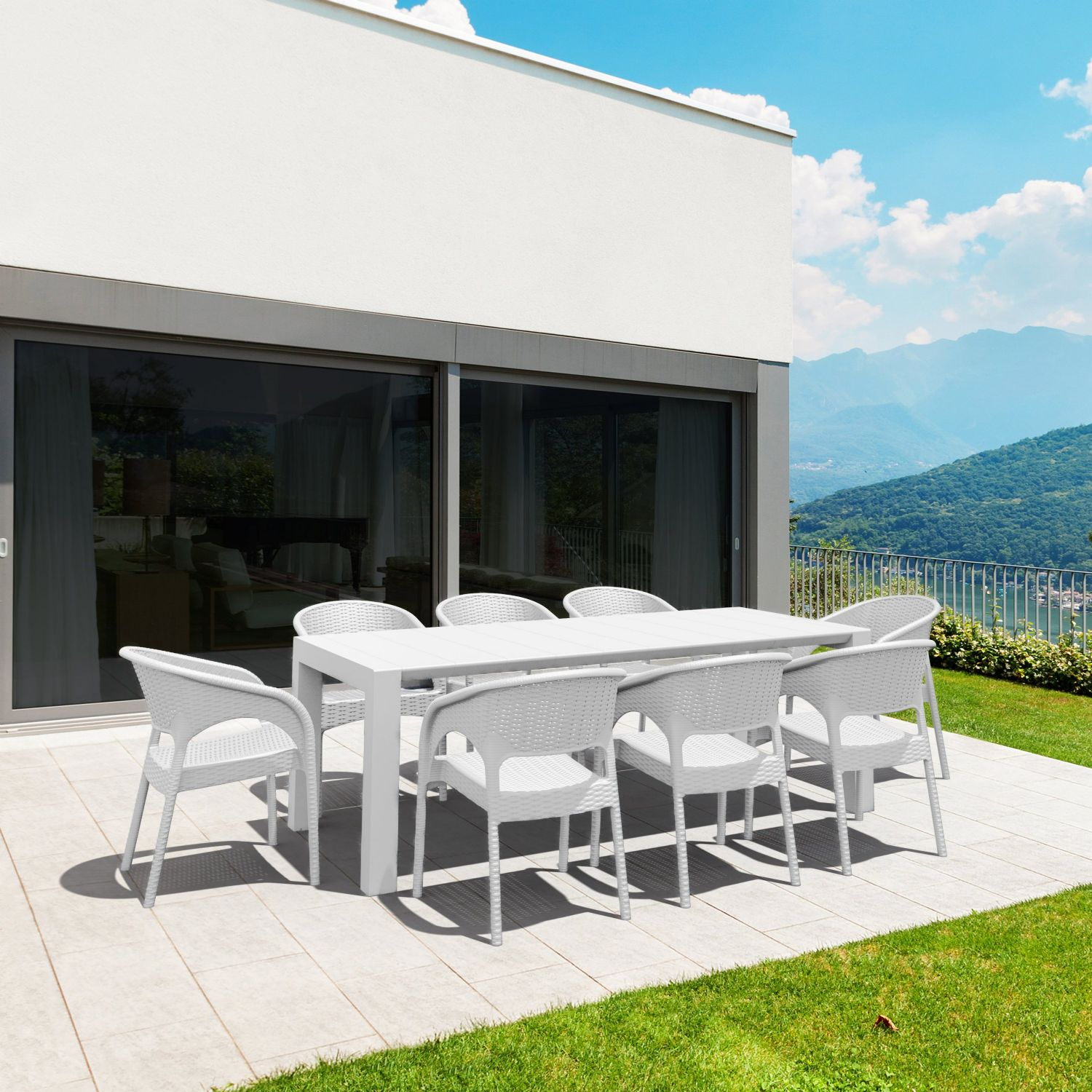 Vegas Outdoor Dining Table Extendable from 70 to 86 inch White ISP774-WH - 28
