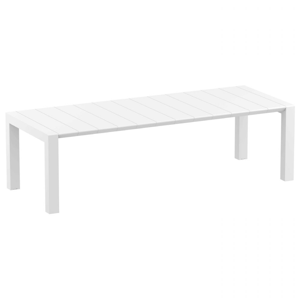 Vegas Outdoor Dining Table Extendable from 102 to 118 inch White ISP776-WH