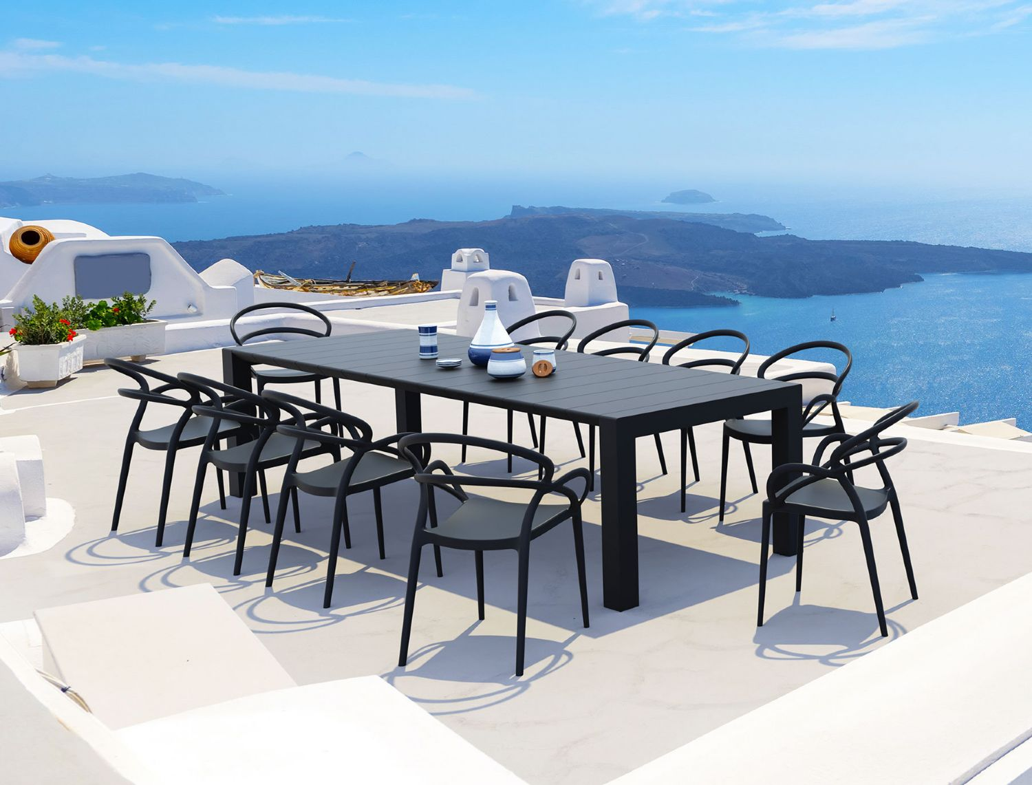Vegas Outdoor Dining Table Extendable from 102 to 118 inch Dark Gray ISP776-DG - 1