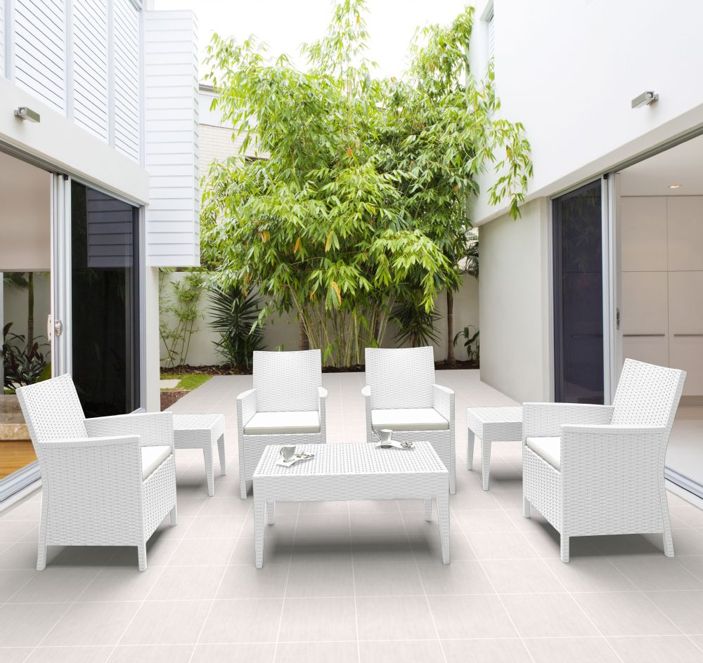 California Wickerlook Resin Patio Seating Set 7 Piece White ISP8062S-WH