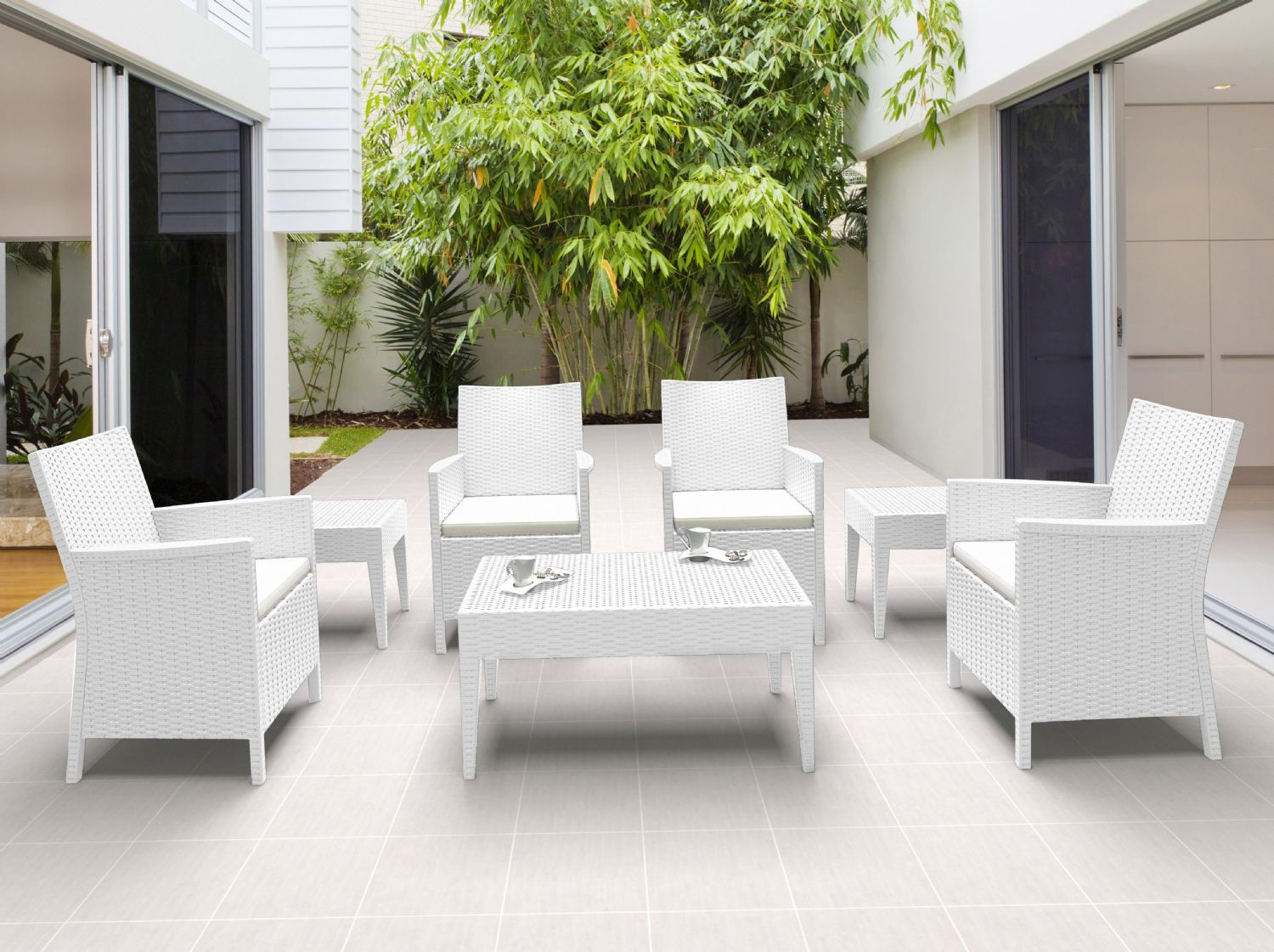 California Wickerlook Resin Patio Seating Set 7 Piece White ISP8062S-WH - 4