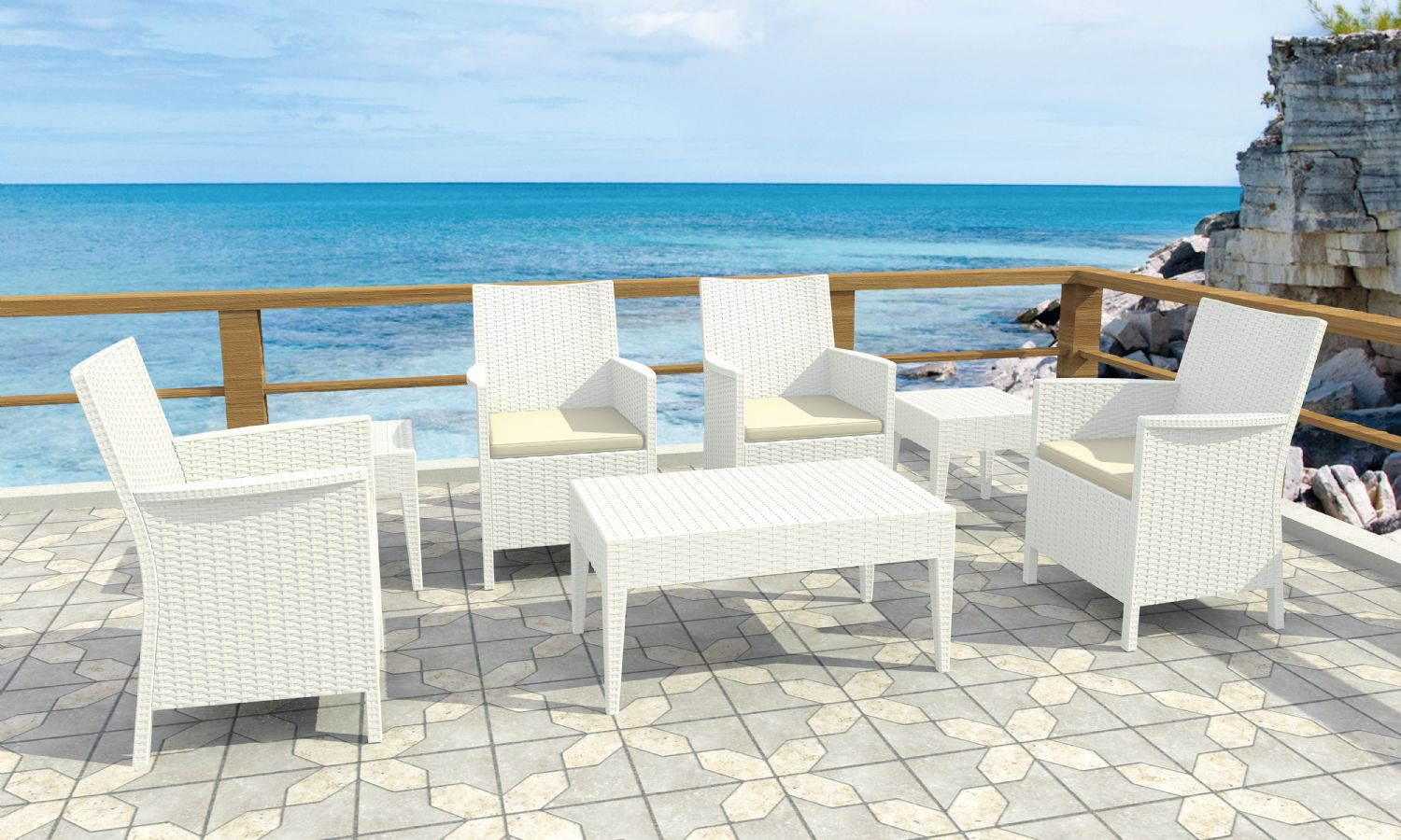 California Wickerlook Resin Patio Seating Set 7 Piece White ISP8062S-WH - 5