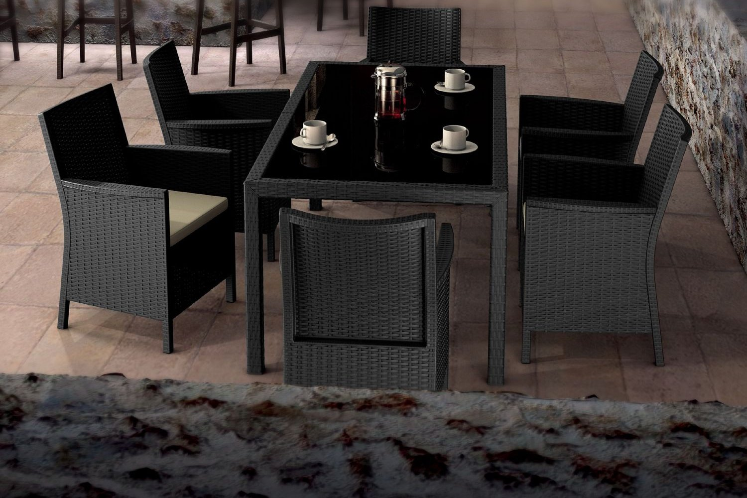 California Wickerlook Resin Patio Dining Set 7 Piece Dark Gray ISP8063S-DG - 2