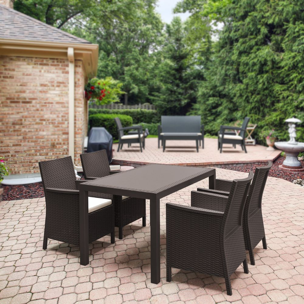 California Wickerlook Resin 55 inch Patio Dining Set 5 Piece Brown ISP8064S-BR