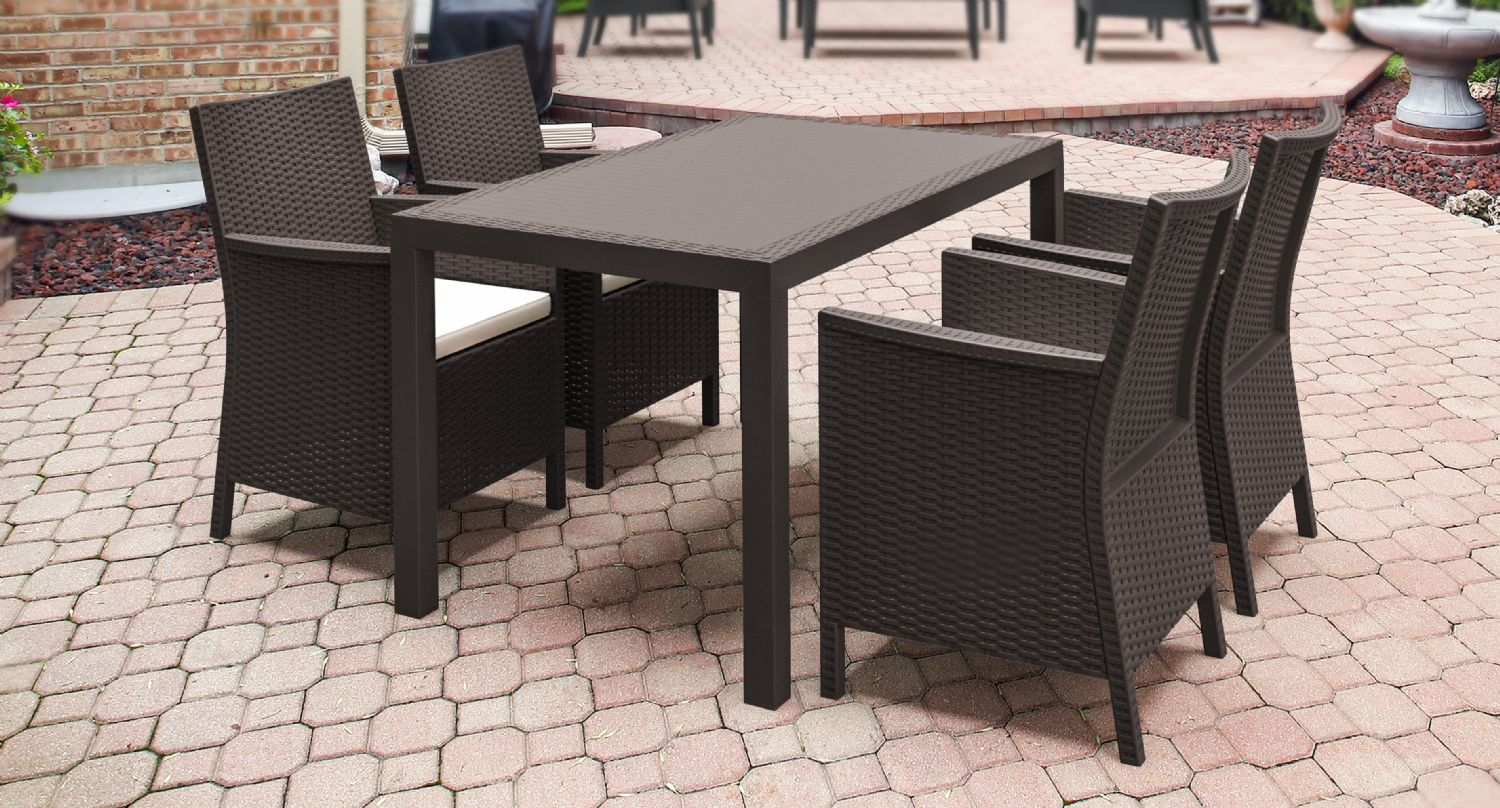 California Wickerlook Resin 55 inch Patio Dining Set 5 Piece White ISP8064S-WH - 1