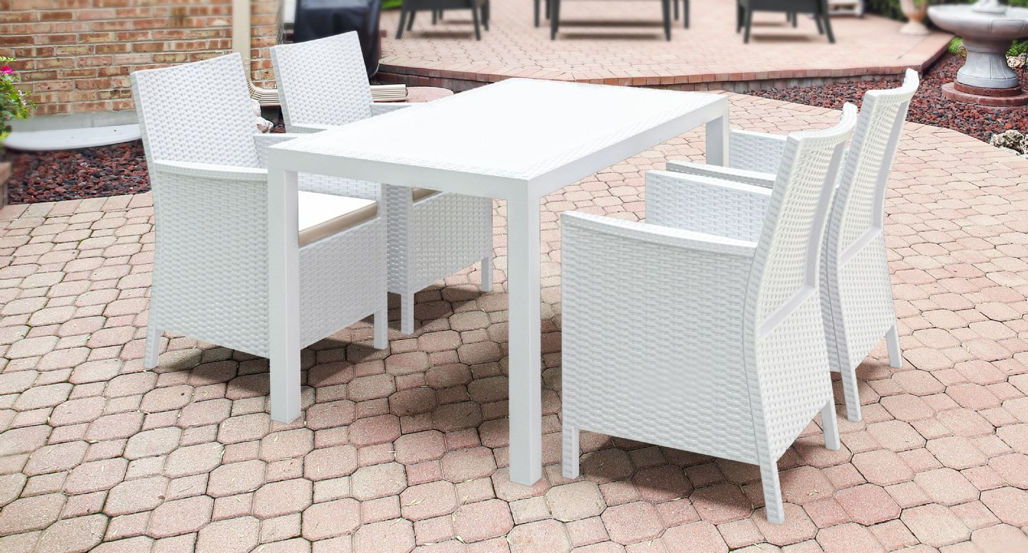 California Wickerlook Resin 55 inch Patio Dining Set 5 Piece White ISP8064S-WH - 3
