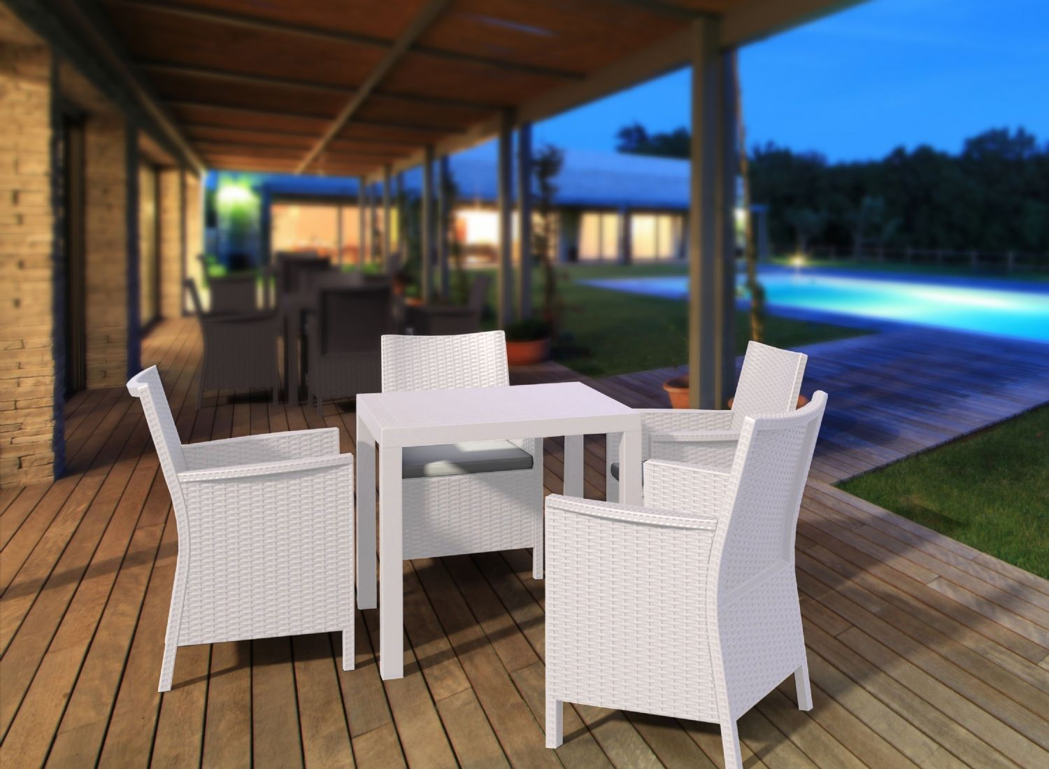 California Wickerlook Square 31 inch Patio Dining Set 5 Piece White ISP8065S-WH - 3