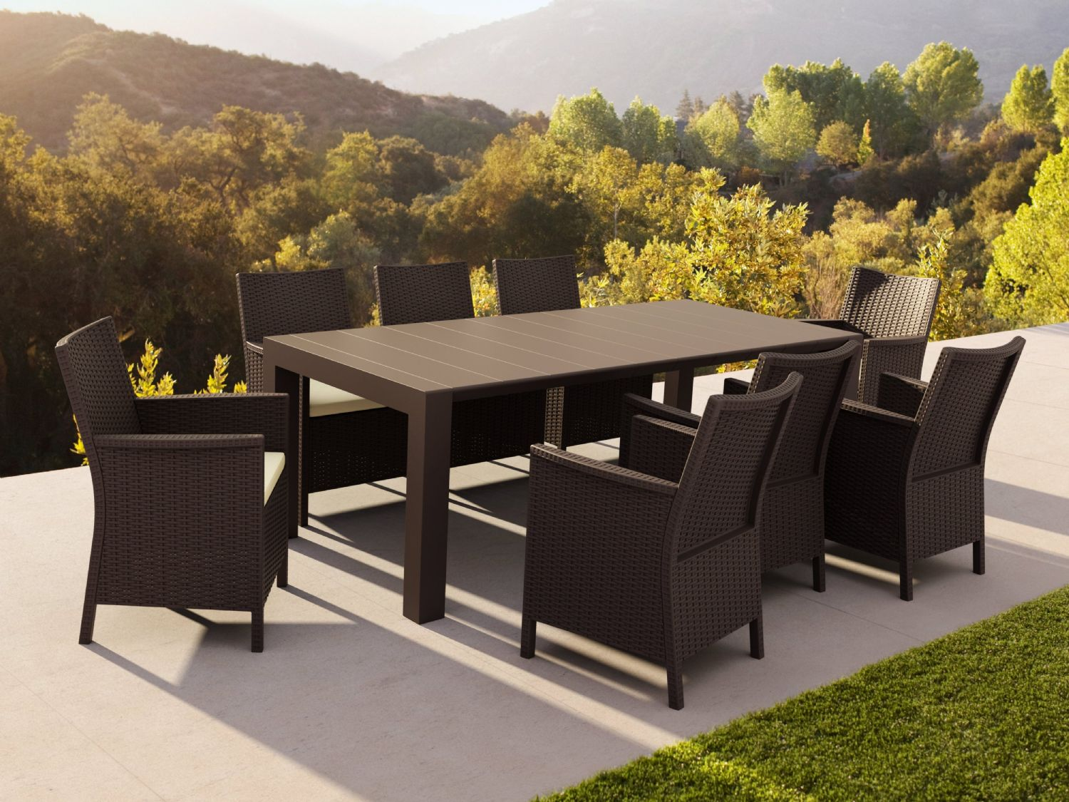 California Extendable Dining Set 9 Piece Brown ISP8066S-BR - 1