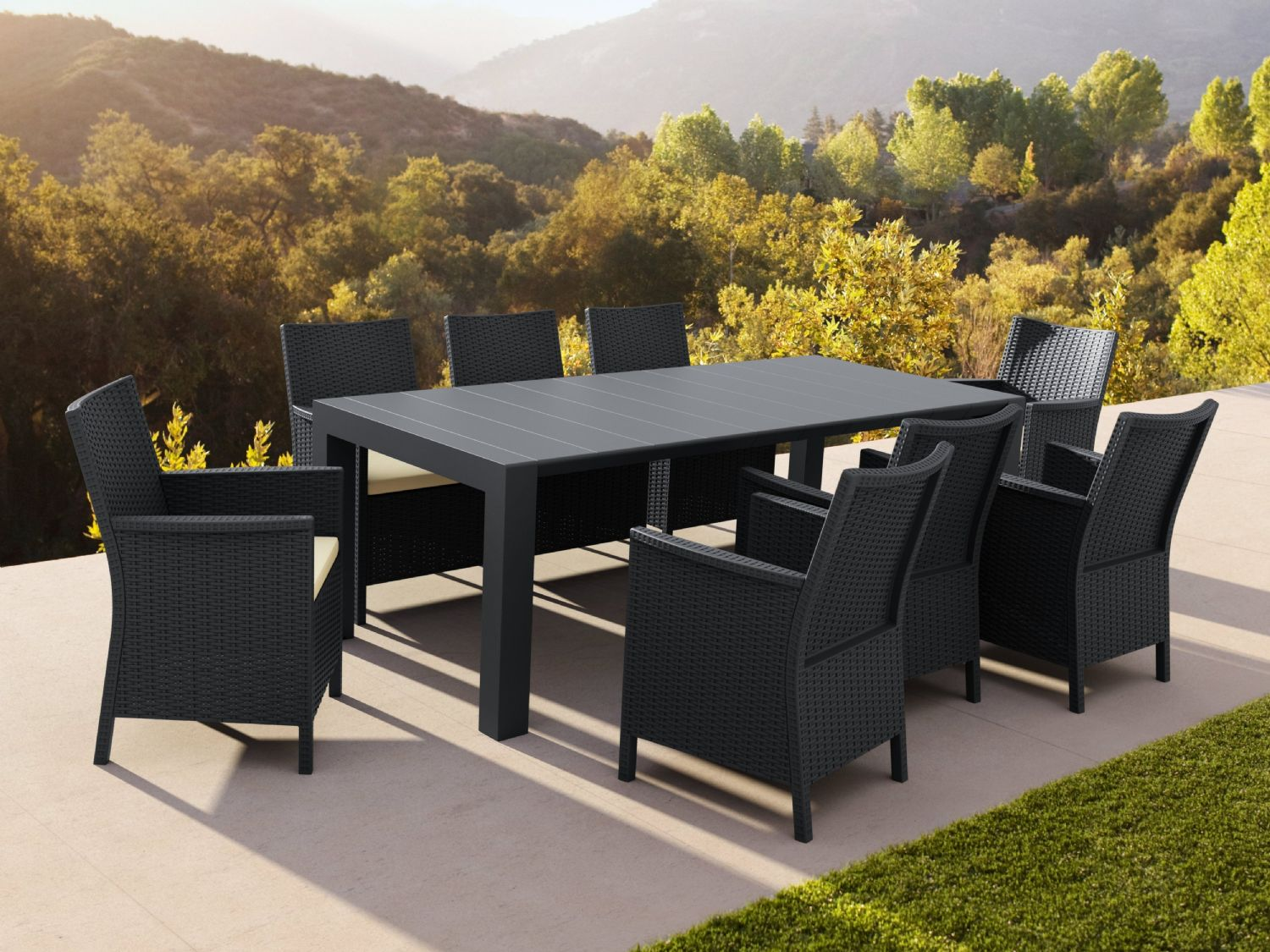 California Extendable Dining Set 9 Piece Brown ISP8066S-BR - 2