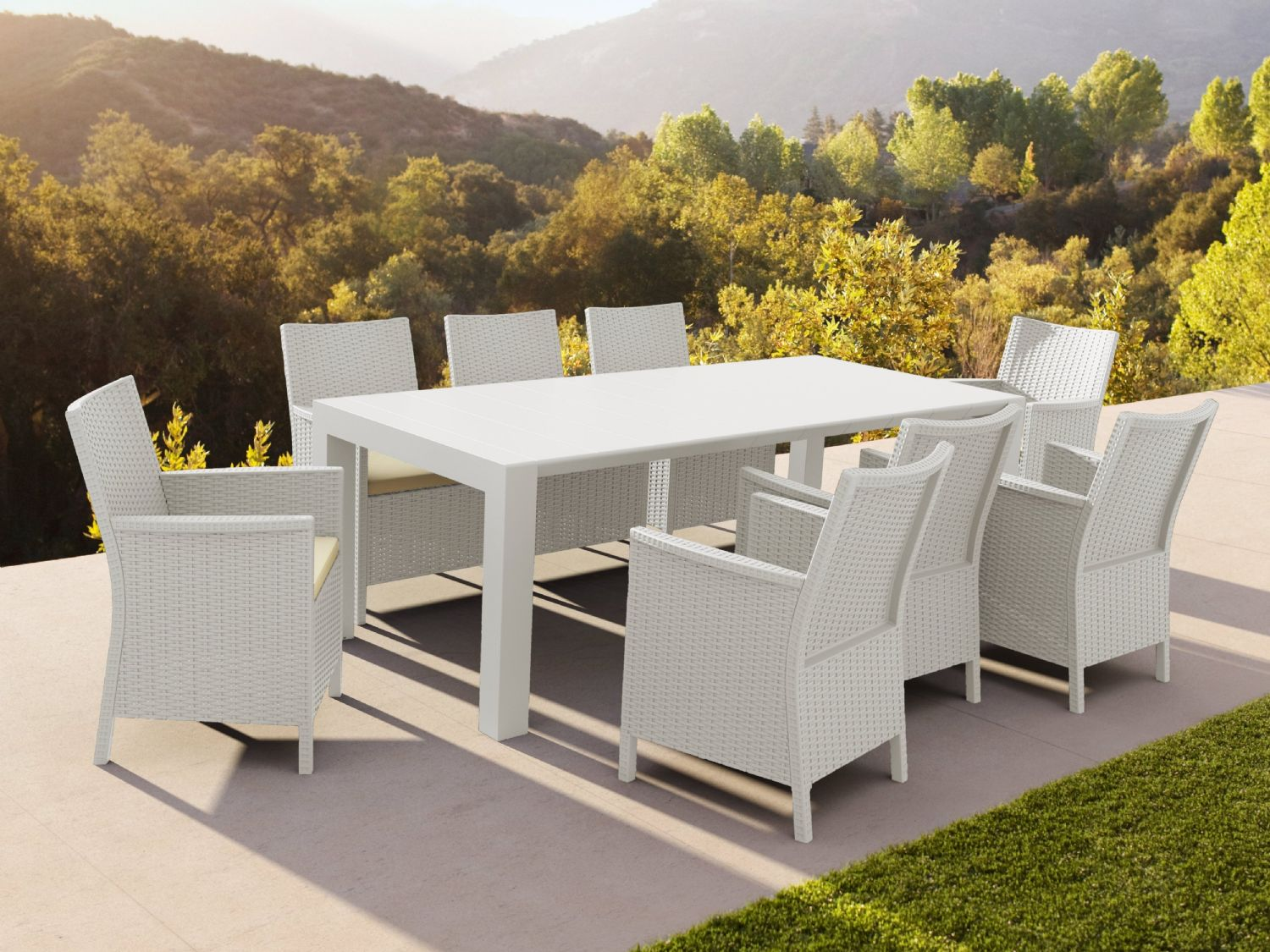 California Extendable Dining Set 9 Piece White ISP8066S-WH - 3
