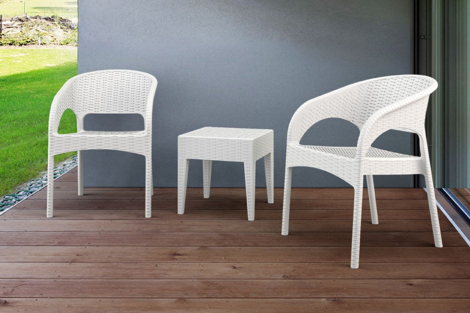 Panama Wickerlook Bistro Set 3 Piece White ISP8081S-WH - 3