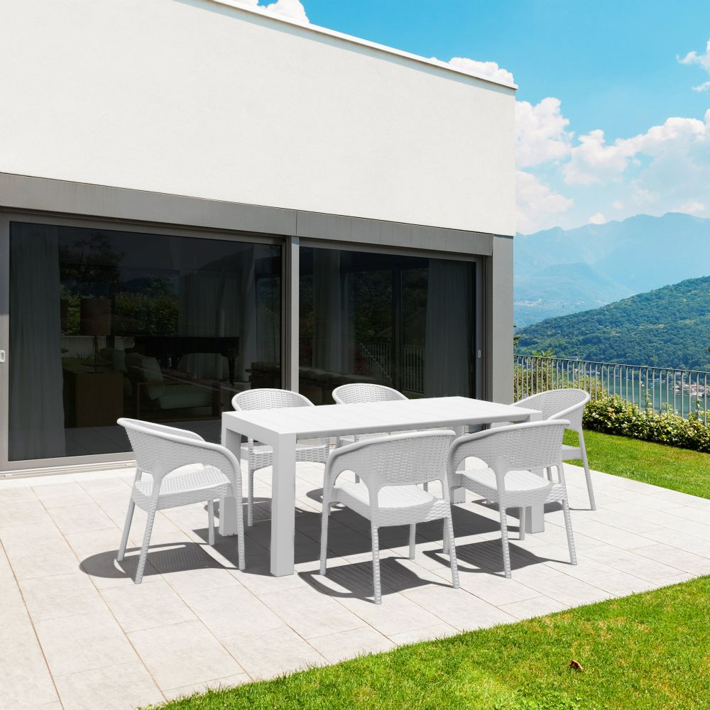 Panama Extendable Patio Dining Set 7 piece White ISP8082S-WH