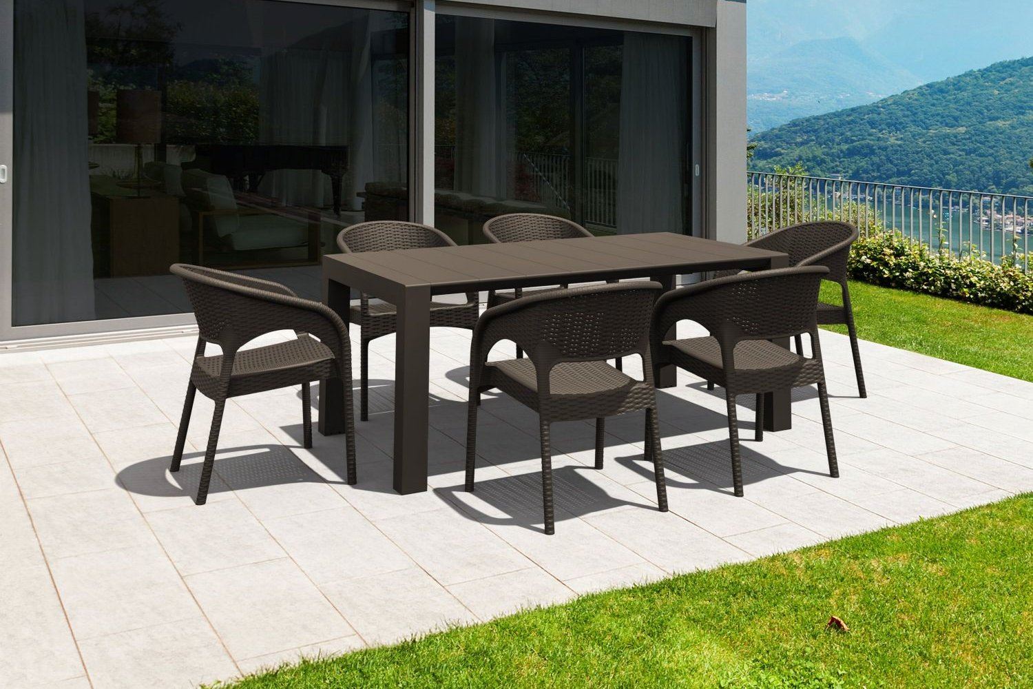 Panama Extendable Patio Dining Set 7 piece White ISP8082S-WH - 1