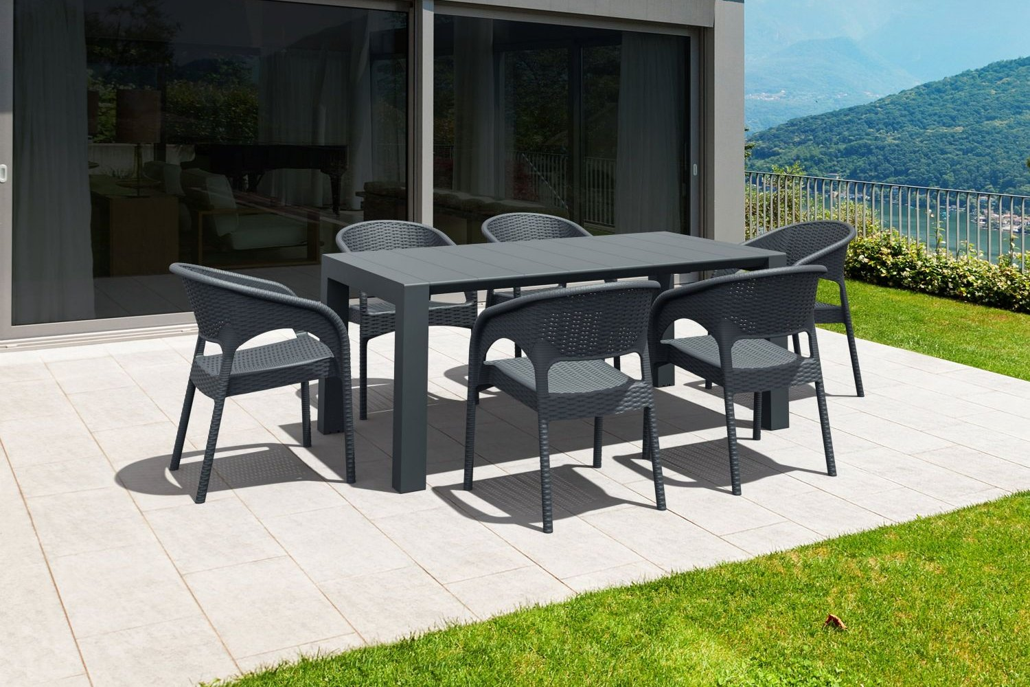 Panama Extendable Patio Dining Set 7 piece White ISP8082S-WH - 2